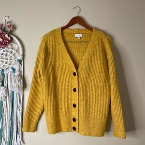 TopShop Ribbed Button Down Cardigan Yellow Size 2